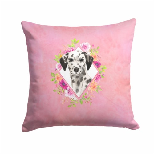 Dalmatian Pink Flowers Fabric Decorative Pillow Perspective: front