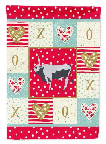 Carolines Treasures  CK5251CHF Hungarian Grey Steppe Cow Love Flag Canvas House Perspective: front