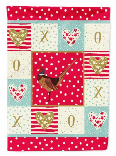Carolines Treasures  CK5357CHF Ring-necked Common Pheasant Love Flag Canvas Hous Perspective: front