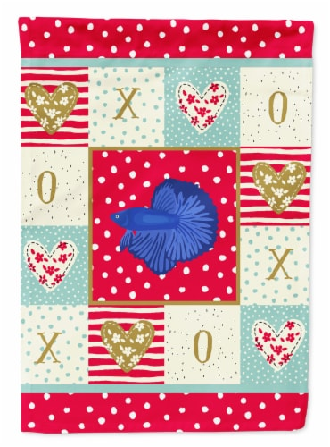 Carolines Treasures  CK5468CHF Delta Tail Betta Fish Love Flag Canvas House Size Perspective: front