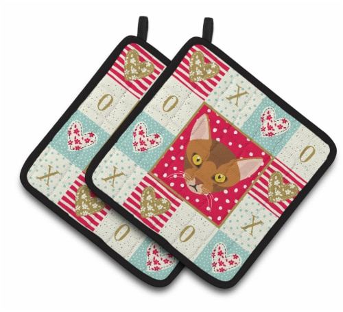 Carolines Treasures  CK5077PTHD Abyssinian Cat Love Pair of Pot Holders Perspective: front