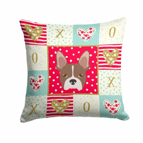 Carolines Treasures  CK5187PW1414 Boston Terrier Love Fabric Decorative Pillow Perspective: front