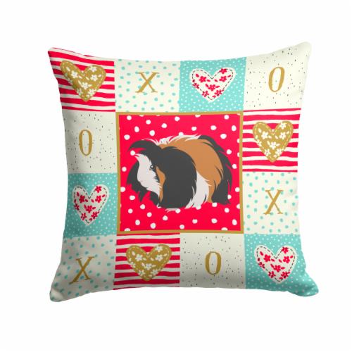 Carolines Treasures  CK5433PW1414 Sheba Guinea Pig Love Fabric Decorative Pillow Perspective: front