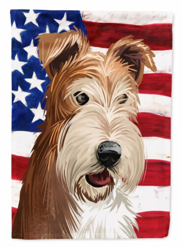 Fox Terrier Wire Dog American Flag Flag Canvas House Size Perspective: front