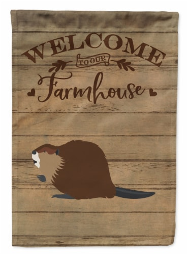 Carolines Treasures  CK6817CHF Eurasian Beaver Welcome Flag Canvas House Size Perspective: front