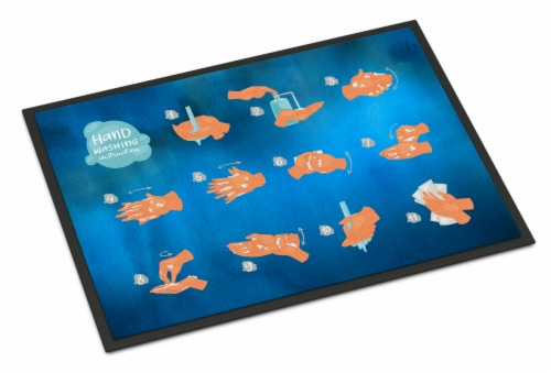 Hand Washing Instructions Indoor or Outdoor Mat 24x36 Perspective: front
