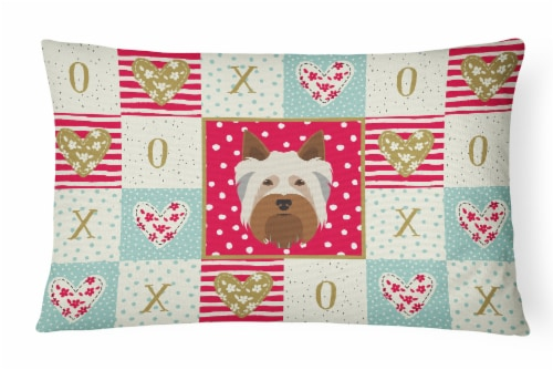 Australian Silky Terrier Love Canvas Fabric Decorative Pillow Perspective: front