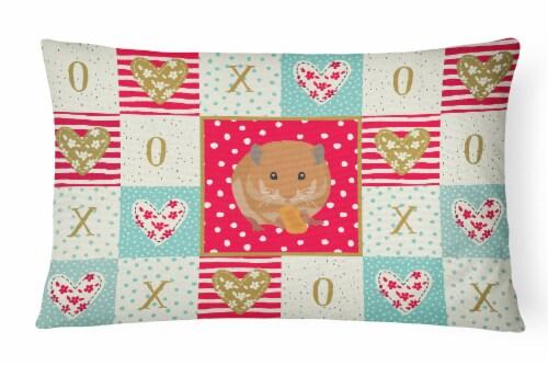 Carolines Treasures  CK5444PW1216 Teddy Bear Hamster Love Canvas Fabric Decorati Perspective: front