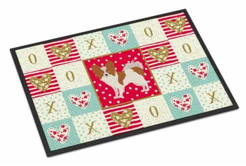 Carolines Treasures  CK5871JMAT Papillon #1 Love Indoor or Outdoor Mat 24x36 Perspective: front