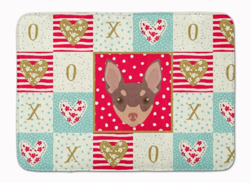 Toy Fox Terrier Love Machine Washable Memory Foam Mat Perspective: front