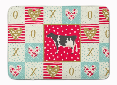 Carolines Treasures  CK5249RUG Holstein Cow Love Machine Washable Memory Foam Ma Perspective: front
