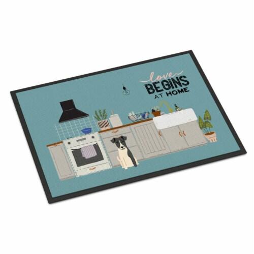 Smooth Fox Terrier Kitchen Scene Indoor or Outdoor Mat 24x36 Perspective: front