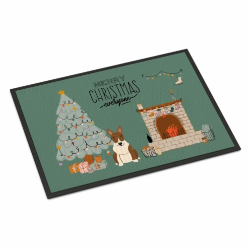 Brindle Bull Terrier Christmas Everyone Indoor or Outdoor Mat 18x27 Perspective: front