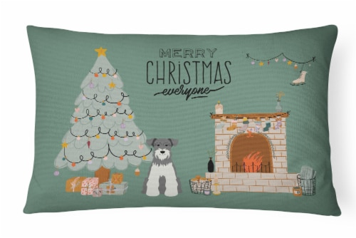 Salt and Pepper Miniature Schnauzer Christmas Everyone Canvas Fabric Decorative Perspective: front