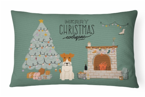 Wire Fox Terrier Christmas Everyone Canvas Fabric Decorative Pillow Perspective: front