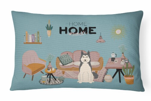 West Siberian Laika Spitz Sweet Home Canvas Fabric Decorative Pillow Perspective: front