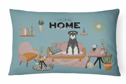 Salt and Pepper Standard Schnauzer Sweet Home Canvas Fabric Decorative Pillow Perspective: front