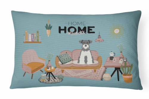 Salt and Pepper Miniature Schnauzer Sweet Home Canvas Fabric Decorative Pillow Perspective: front