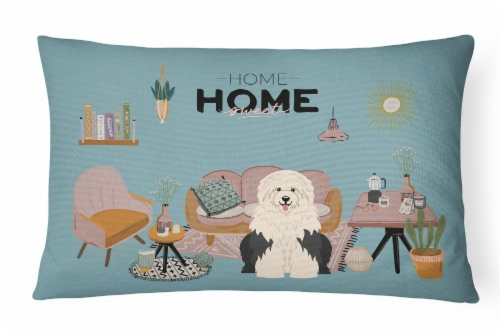 Old English Sheepdog Sweet Home Canvas Fabric Decorative Pillow Perspective: front
