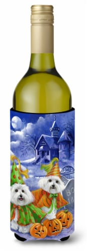 Bichon Frise Halloween Haunted House Wine Bottle Hugger Perspective: front
