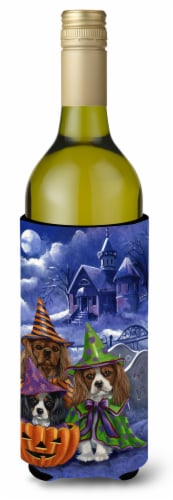 Cavalier Spaniel Halloween House Wine Bottle Hugger Perspective: front