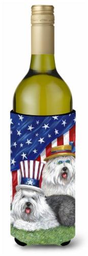 Carolines Treasures  PPP3121LITERK Old English Sheepdog USA Wine Bottle Hugger Perspective: front