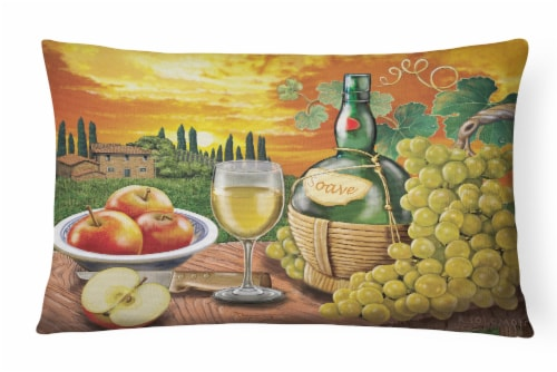Soave, Apple, Wine and Cheese Canvas Fabric Decorative Pillow Perspective: front