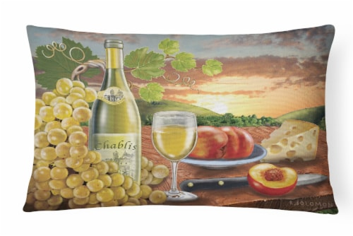 Chablis, Peach, Wine and Cheese Canvas Fabric Decorative Pillow Perspective: front