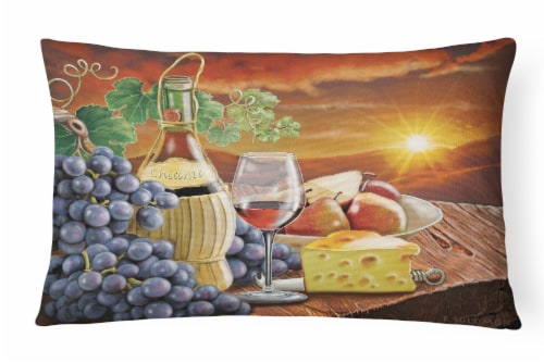 Chianti, Pears, Wine and Cheese Canvas Fabric Decorative Pillow Perspective: front