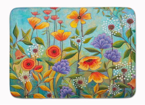 Fresh Air Flowers Machine Washable Memory Foam Mat Perspective: front