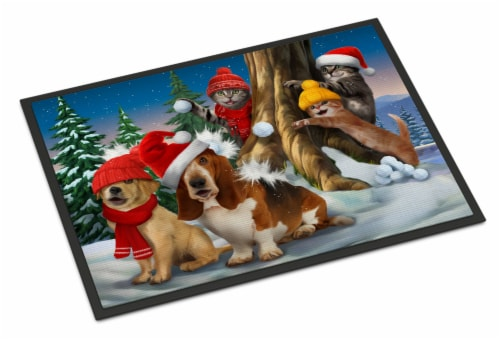 Basset, Golden and Cats Snowball Fight Indoor or Outdoor Mat 24x36 Perspective: front