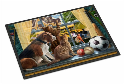Beagle, Cats Back to School Indoor or Outdoor Mat 24x36 Perspective: front