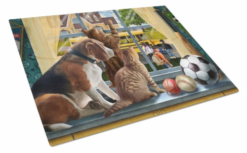 Beagle, Cats Back to School Glass Cutting Board Large Perspective: front