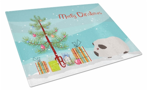 Himalayan Guinea Pig Merry Christmas Glass Cutting Board Large Perspective: front