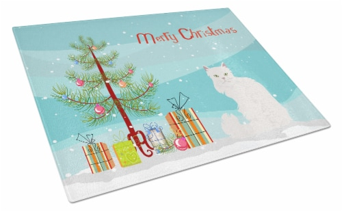 Asian Semi Longhaired Cat Merry Christmas Glass Cutting Board Large Perspective: front