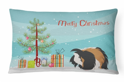 Sheba Guinea Pig Merry Christmas Canvas Fabric Decorative Pillow Perspective: front