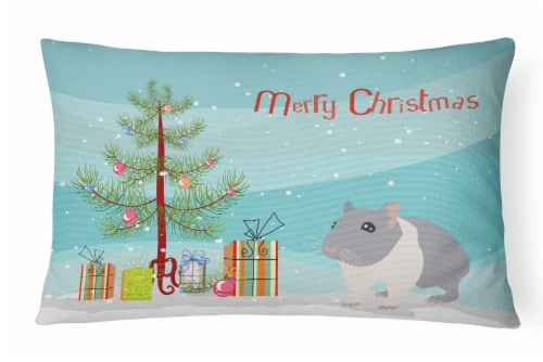 South African Hamster Merry Christmas Canvas Fabric Decorative Pillow Perspective: front