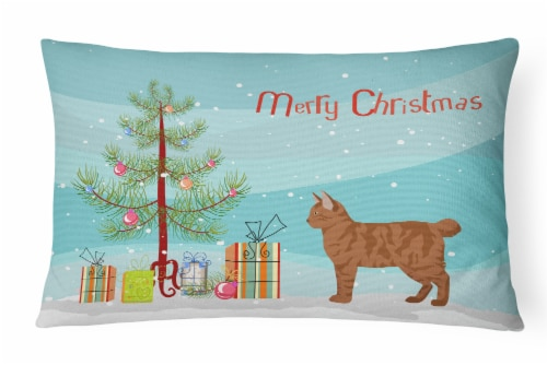 American Bobtail #2 Cat Merry Christmas Canvas Fabric Decorative Pillow Perspective: front