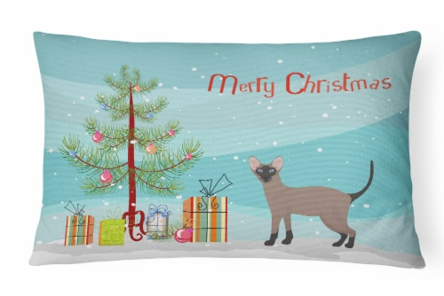 Oriental Bicolor Cat Merry Christmas Canvas Fabric Decorative Pillow Perspective: front