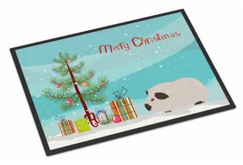 Himalayan Guinea Pig Merry Christmas Indoor or Outdoor Mat 18x27 Perspective: front