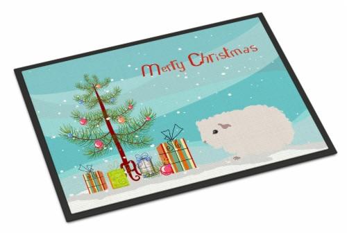 Merino Guinea Pig Merry Christmas Indoor or Outdoor Mat 18x27 Perspective: front