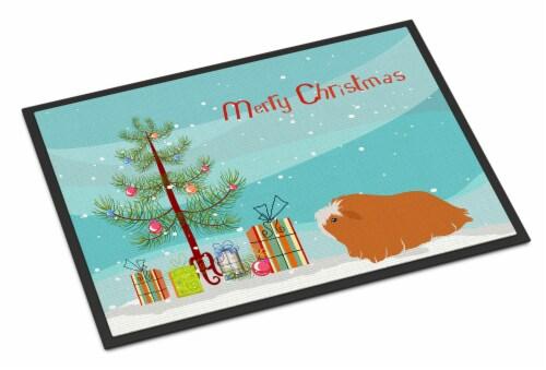 Peruvian Guinea Pig Merry Christmas Indoor or Outdoor Mat 18x27 Perspective: front
