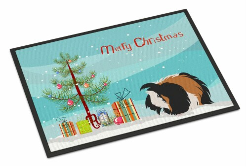 Sheba Guinea Pig Merry Christmas Indoor or Outdoor Mat 18x27 Perspective: front