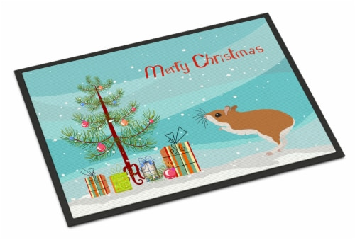 White Legged Hamster Merry Christmas Indoor or Outdoor Mat 18x27 Perspective: front