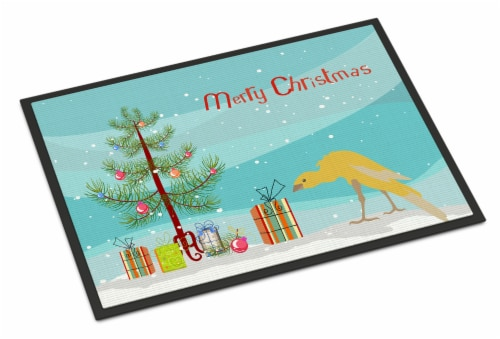 Belgian Hunchback Canary Merry Christmas Indoor or Outdoor Mat 18x27 Perspective: front