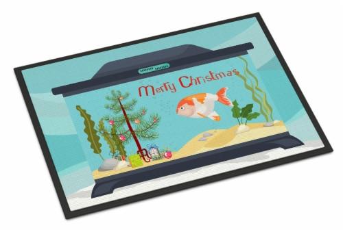 Lionhead Goldfish Merry Christmas Indoor or Outdoor Mat 18x27 Perspective: front