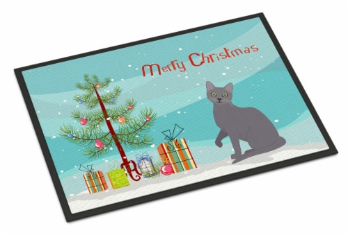 Korat Cat Merry Christmas Indoor or Outdoor Mat 18x27 Perspective: front