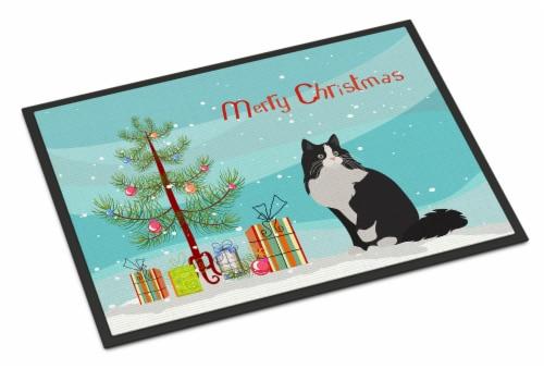 Ragamuffin Cat Merry Christmas Indoor or Outdoor Mat 18x27 Perspective: front
