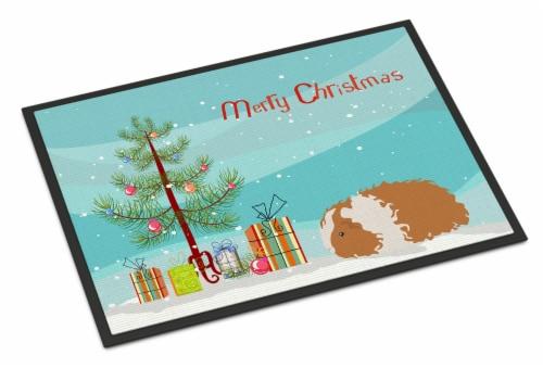 Texel Guinea Pig Merry Christmas Indoor or Outdoor Mat 24x36 Perspective: front