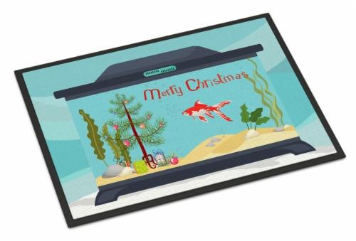 Comet Goldfish Merry Christmas Indoor or Outdoor Mat 24x36 Perspective: front